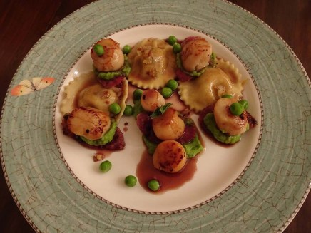 Homemade Pumpkin Ravioli with Scallops with Salami and Pea Puree